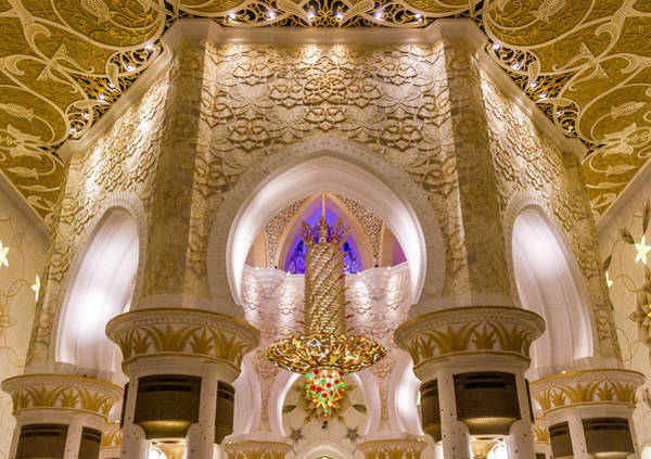 Poster featuring the photograph Golden Interiors Of Sheikh Zayed Mosque by Yogendra Joshi