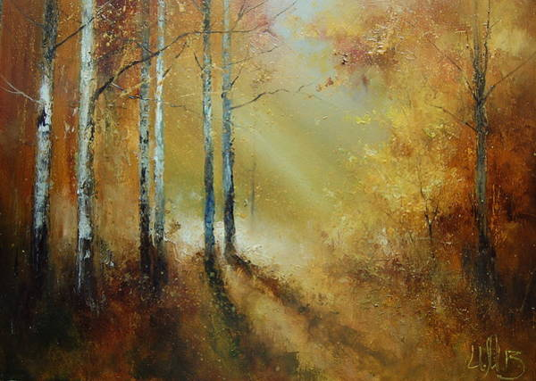 Golden Light In Autumn Woods Poster
