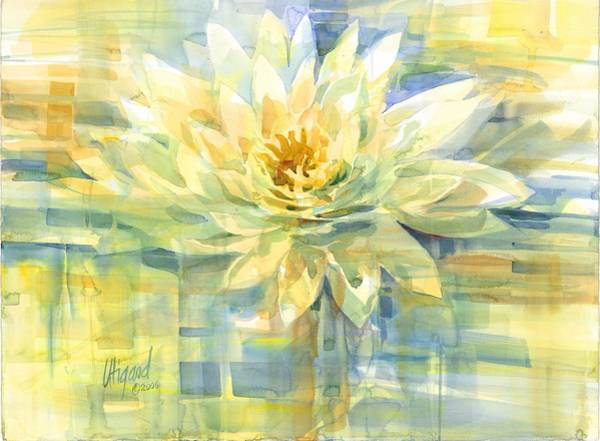Poster featuring the painting Golden Lotus by Carolyn Utigard Thomas