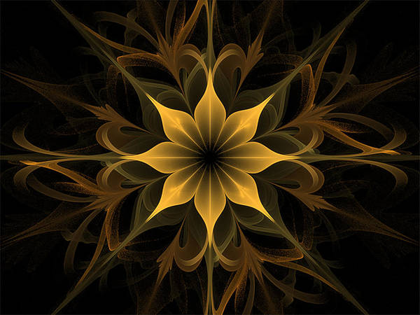 Golden Lotus Swirls Poster