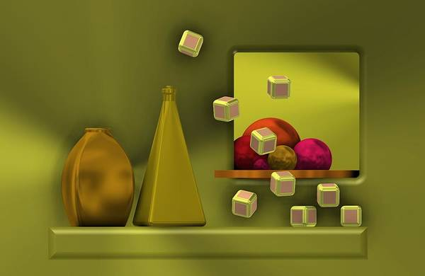 Golden Still Life With Red Balls  Poster