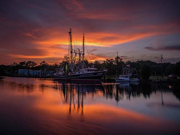 Golden Sunset On The Bayou Poster