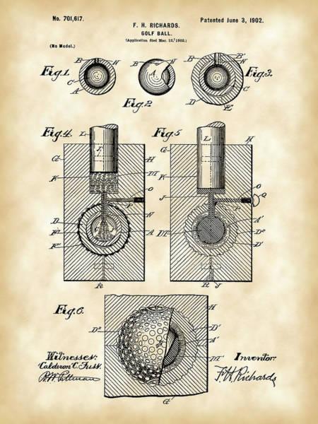 Golf Ball Patent 1902 - Vintage Poster
