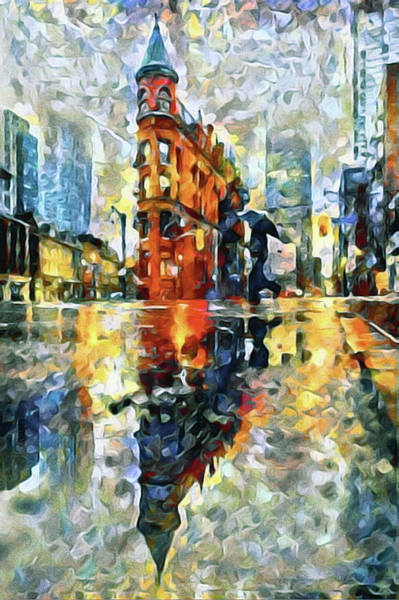 Poster featuring the mixed media Gooderham Flatiron Building In The Rain by Susan Maxwell Schmidt