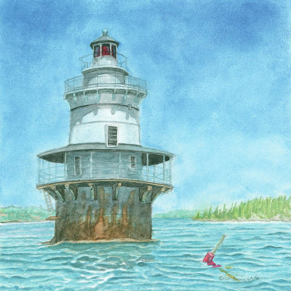 Poster featuring the painting Goose Rocks Light At High Tide by Dominic White