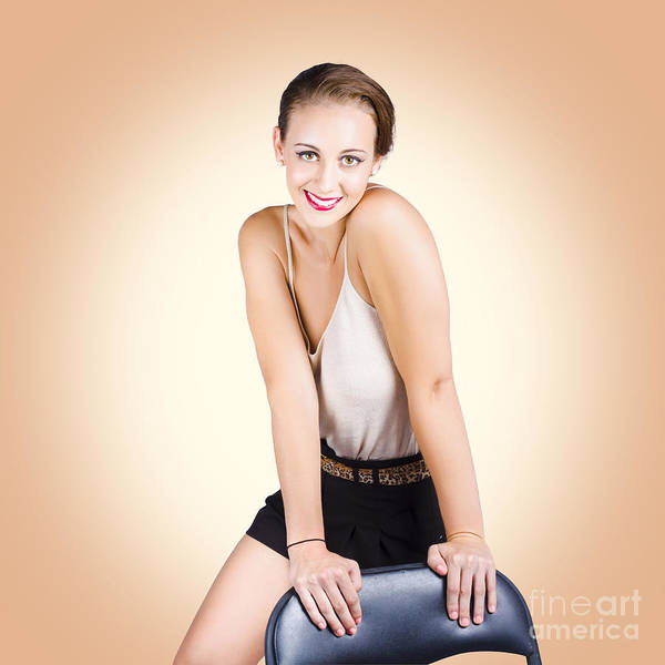 Gorgeous 1950s House Wife Posing On Chair Poster