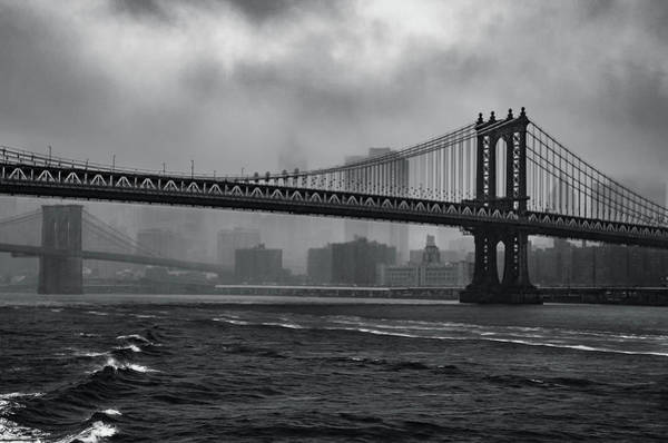 Manhattan Bridge In A Storm Poster