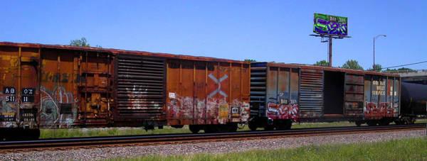 Graffiti Train With Billboard Poster