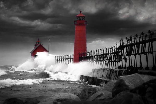 Grand Haven Lighthouse In A Rain Storm Poster