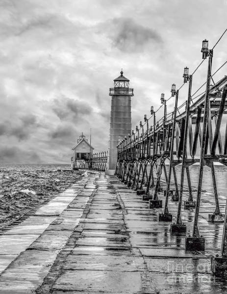 Grand Haven Lighthouse - Monochome Poster