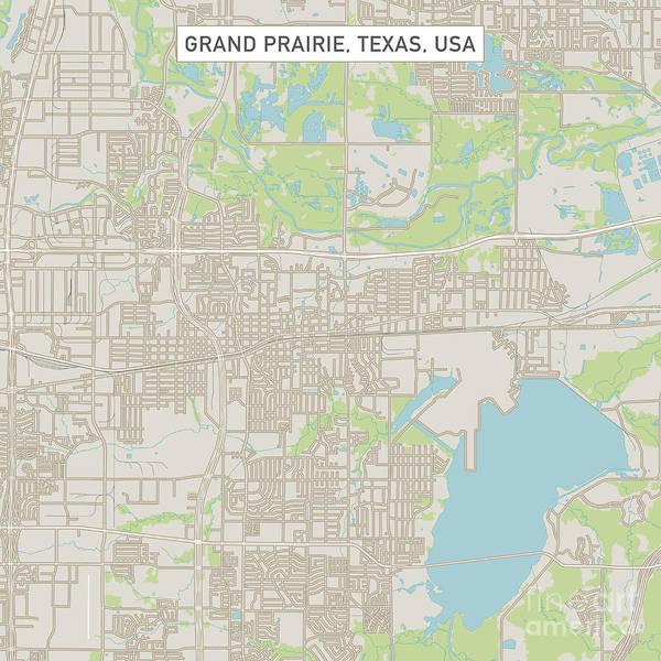 Grand Prairie Texas Us City Street Map Poster