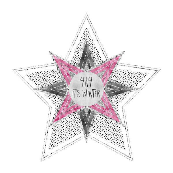 Graphic Art Silver - Yay It's Winter - Pink Poster