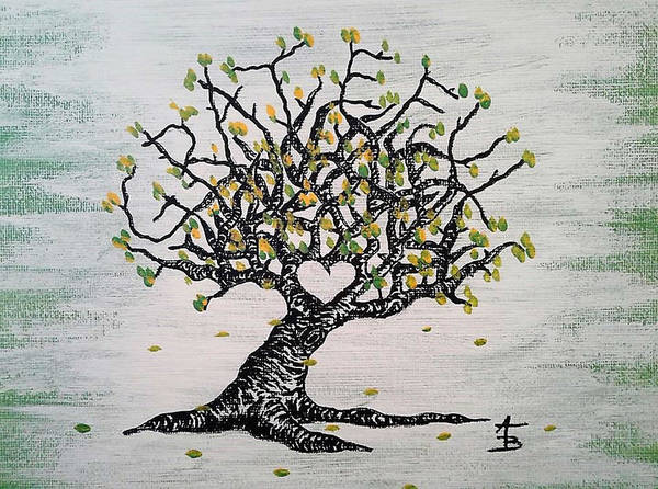 Poster featuring the drawing Grateful Love Tree by Aaron Bombalicki