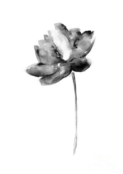 Gray Lotos Flower Watercolor Art Print Poster