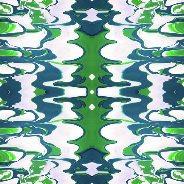 Green And Blue Swirl- Art By Linda Woods Poster