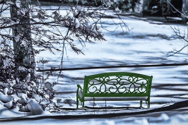 Green Bench At The Edge Of A Frozen Pond Poster