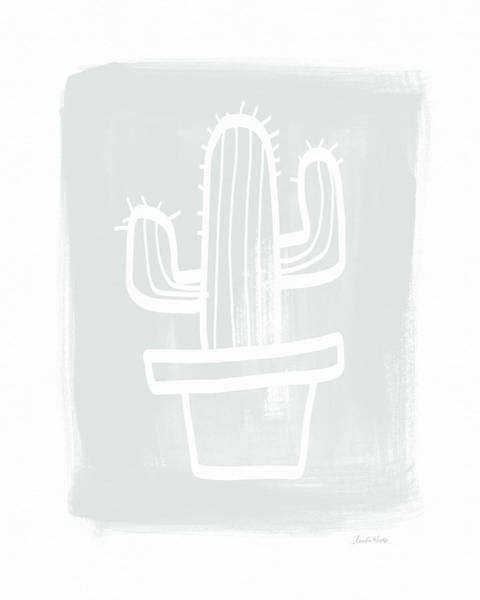 Grey And White Cactus- Art By Linda Woods Poster