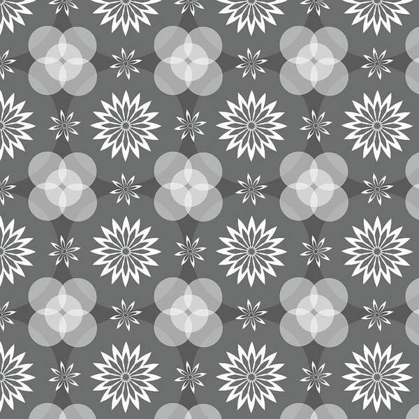 Grey Circles And Flowers Pattern Poster