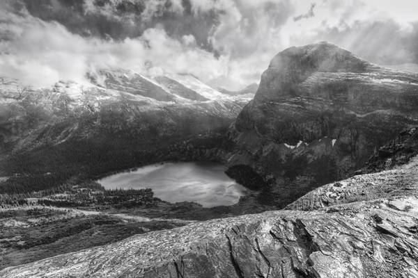 Grinnell Lake Overlook Black And White Poster