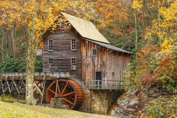 Grist Mill In Autumn Hues Poster