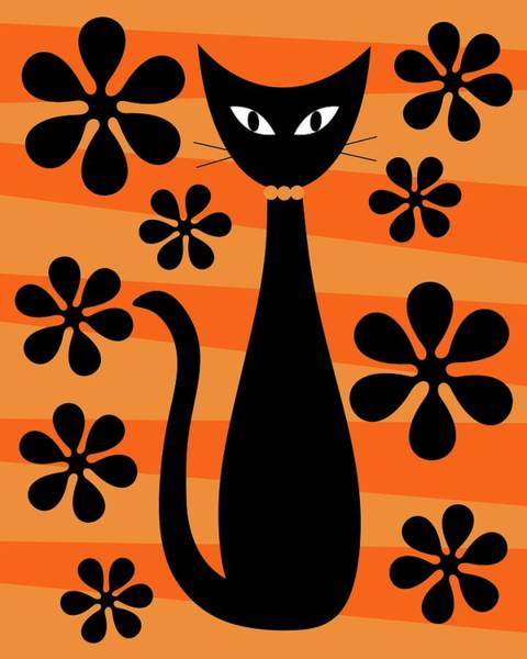 Groovy Flowers With Cat Orange And Light Orange Poster