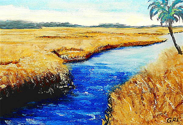 Poster featuring the painting Gulf Coast Marsh II Detail Original Fine Art Painting by G Linsenmayer