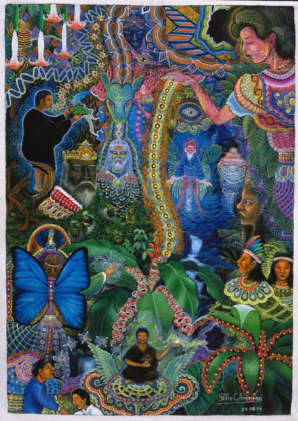Poster featuring the painting Hada De Pero Nuga by Pablo Amaringo