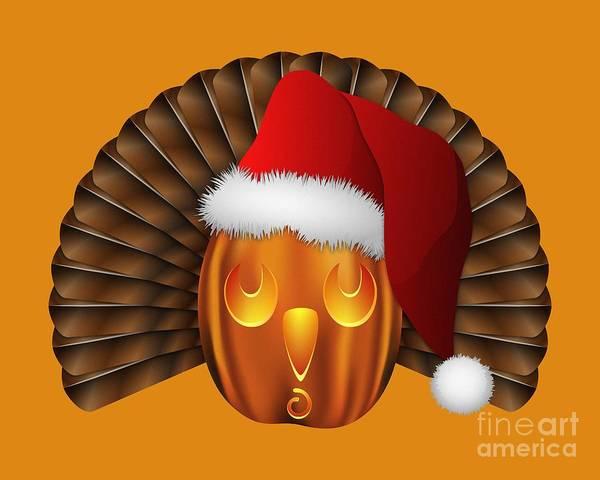 Hallowgivingmas Santa Turkey Pumpkin Poster