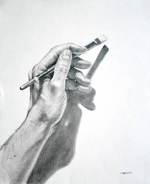 Hand Holding Brush Poster