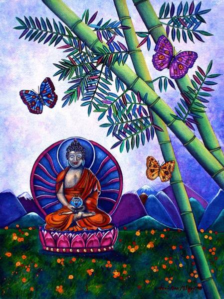 Happy Buddha And Prosperity Bamboo Poster