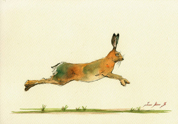 Hare Running Watercolor Painting Poster