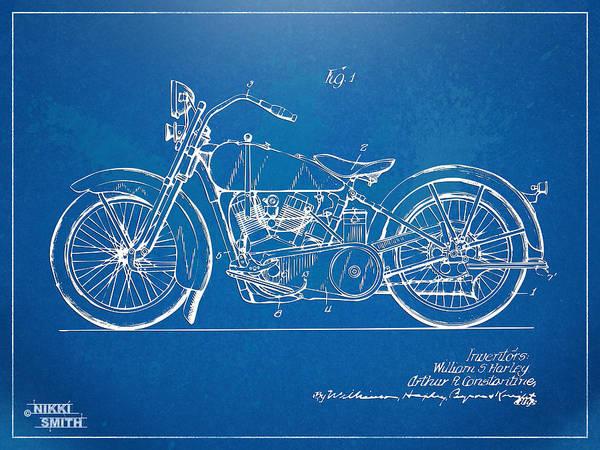 Harley-davidson Motorcycle 1928 Patent Artwork Poster