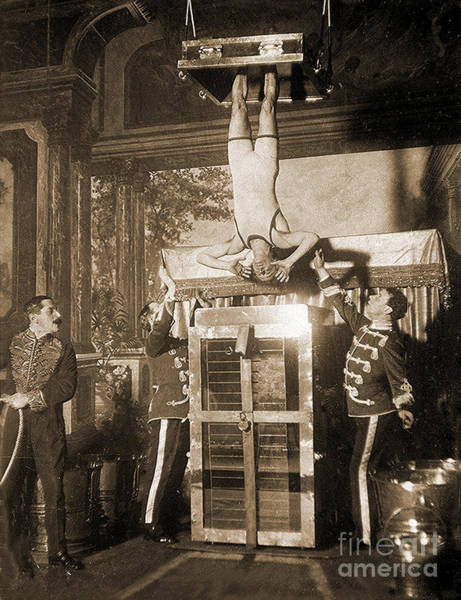 Harry Houdini Suspended Above A Tank Of Water  Poster