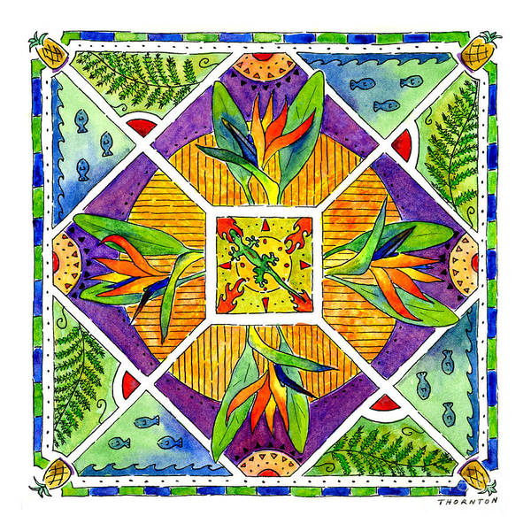 Hawaiian Mandala II - Bird Of Paradise Poster