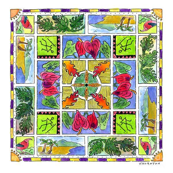 Hawaiian Mandala Iv - Anthuriums Poster