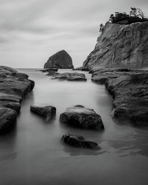 Haystack Rock In Bw Poster