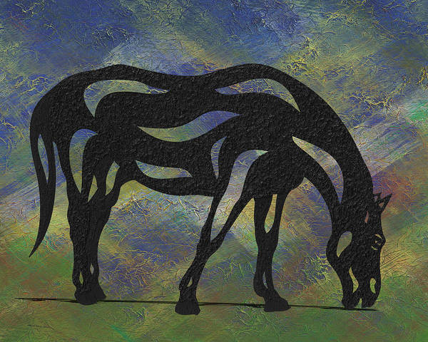 Poster featuring the painting Hazel - Abstract Horse by Manuel Sueess