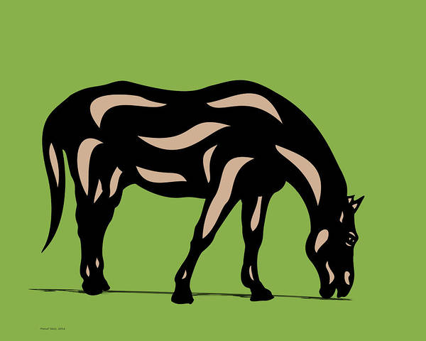 Poster featuring the digital art Hazel - Pop Art Horse - Black, Hazelnut, Greenery by Manuel Sueess