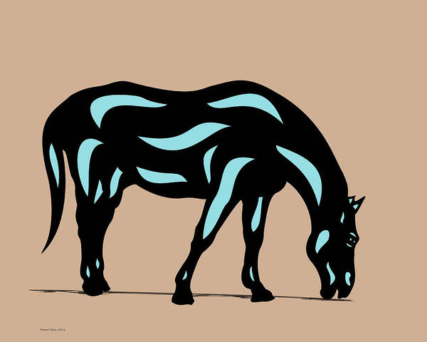 Poster featuring the digital art Hazel - Pop Art Horse - Black, Island Paradise Blue, Hazelnut by Manuel Sueess