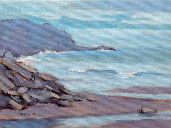 Poster featuring the painting Hazy Morning At Moro Beach  by Konnie Kim