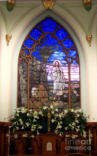 He Is Risen Stained Glass Window Poster