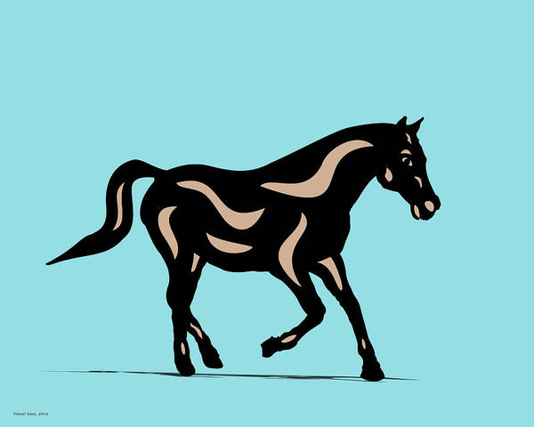 Poster featuring the digital art Heinrich - Pop Art Horse - Black, Hazelnut, Island Paradise Blue by Manuel Sueess