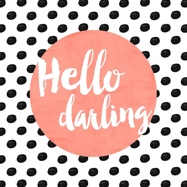 Hello Darling Coral And Dots Poster