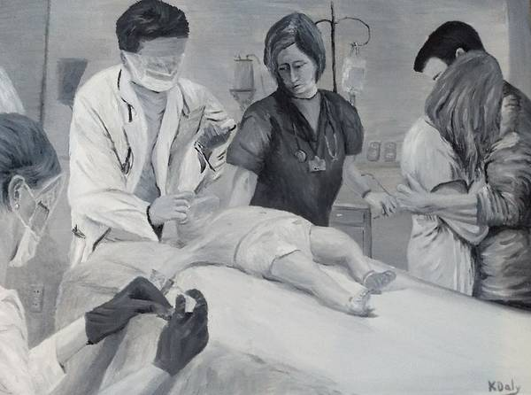 Poster featuring the painting Help by Kevin Daly