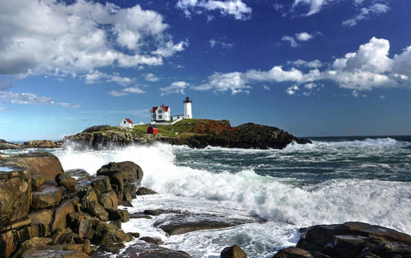 Poster featuring the photograph High Surf At Nubble Light by Wayne Marshall Chase