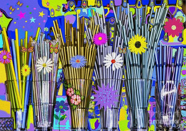 Poster featuring the digital art Hippie Hippie Straws by Eleni Mac Synodinos
