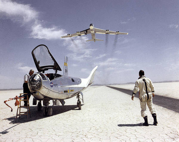 Hl-10 On Lakebed With B-52 Flyby Poster