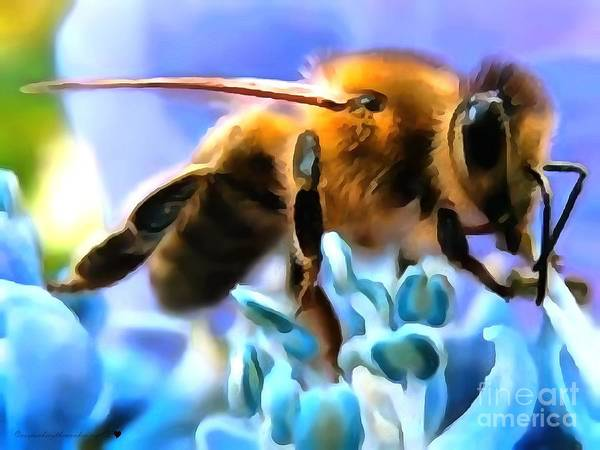 Honey Bee In Interior Design Thick Paint Poster