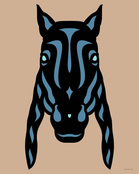 Poster featuring the digital art Horse Face Rick - Horse Pop Art - Hazelnut, Niagara Blue, Island Paradise Blue by Manuel Sueess