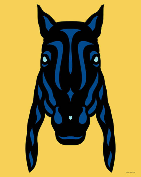 Poster featuring the digital art Horse Face Rick - Horse Pop Art - Primrose Yellow, Lapis Blue, Island Paradise Blue by Manuel Sueess